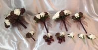 WEDDING ARTIFICIAL FLOWERS ROSE BOUQUETS CHOCOLATE BROWN IVORY BRIDE CORSAGE